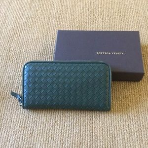Bottega Veneta dark green zip around wallet